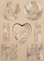 Study for plate 28 from 'Documents Decoratifs', 1905 (pencil with white on paper)