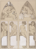 Study for plate 22 from 'Figures Decoratives', 1905 (pencil and white on paper)