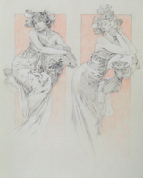 Study for plate 12 from 'Documents Decoratifs', 1902 (pencil with coloured crayon on paper)