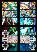Window depicting an allegory of Christ blessing the Slavic nations, 1930 (stained glass) (see also 491875-77)