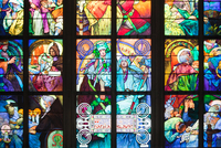 Window depicting an allegory of Christ blessing the Slavic nations, 1930 (stained glass) (see also 491875-76)