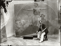 Self portrait, working on a mural for the Lord Mayor's Hall, Obecni dum, Prague, c.1910 (b/w photo)