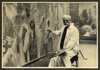 Mucha working on the canvas 'The Coronation of the Serbian Tsar, Stepan Dusan, as East Roman Emperor', 1924 (b/w photo)