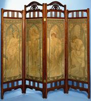 An Art Nouveau screen, the panels decorated with the series 'Les Heures du Jour', comprising Eveil Matin, Eclat du Jour, Reve
