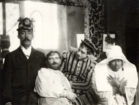 Mucha with his friends in the studio, Rue de la Grande Chaumiere, Paris (b/w photo)