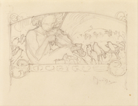 Study of a Woman Playing Violin, (pencil on paper)