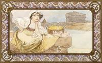 Italian Girl, 1900 (w/c & ink maquette)