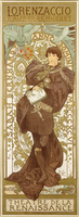 Lorenzaccio, depicting the standing figure of Sarah Bernhardt in the role, 1896 (lithograph in colours)