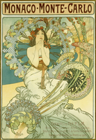 Monaco Monte-Carlo', depicting a maiden within a halo of blossoms, 1897 (lithograph in colours)