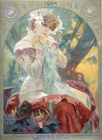 Sarah Bernhardt in the Role of Princess Lointaine, 1904 (colour lithograph)