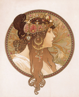 Byzantine head of a brunette; Tete byzantine d'une brunette, c.1897 (lithograph in colours)