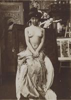 Model posing in Mucha's studio, Rue du Val de Grace, Paris, c. 1902 (gelatin silver print) 22040249648| 写真素材・ストックフォト・画像・イラスト素材|アマナイメージズ