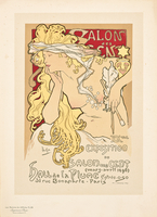 Reproduction of a poster advertising the Salon des Cent Exposition at the Hall de la Plume, 1896 (colour lithograph)