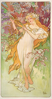 The Seasons: Spring, 1896 (colour litho)