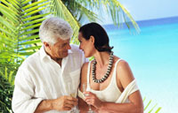 couple with champagne in tropical set