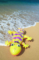 Colorful inflatable gecko laying