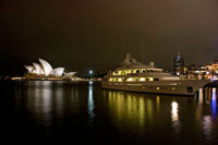 night scene looking across Sydney Harbor