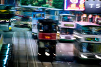 Trams and busses make their way