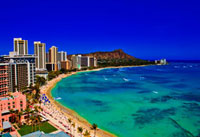 View of Waikiki beach,hotels,and diamond head