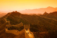 China,Jinshanling,The Great Wall of China,Glow of sunset