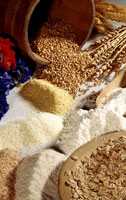 Grains of wheat, flour, and oat flakes