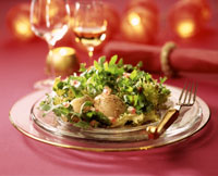 Salad leaves and pomegranate seeds