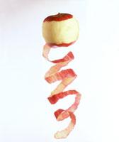 Peeled apple, spiral-shaped apple peel