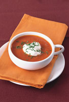 Creamed tomato soup with chives