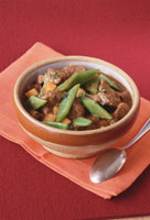 Lamb stew with green beans and thyme