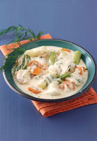 Fish ragout with creamand carrots