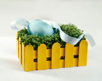 Easter egg in a nest of cress