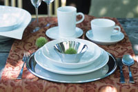 white tableware on a garden table