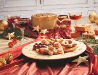 Christmas table with plate of biscuits