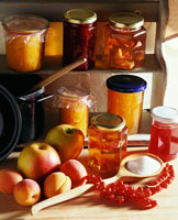 Still life am jelly and fresh fruit
