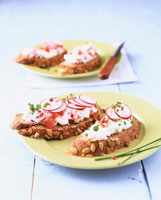 Pumpkin seed bread with radish quark