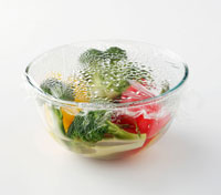 vegetables covered with clingfilm