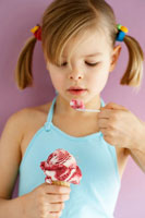 girl eating Amarena cherry ice cream