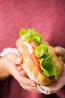 hands holding a chicken breast sandwich 22199024248| 写真素材・ストックフォト・画像・イラスト素材|アマナイメージズ