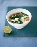noodle soup with mushrooms and pak choi