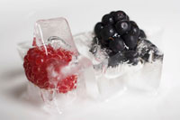 blackberry and raspberry ice cube