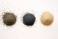 Three different types of poppy seed