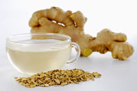 Dried ginger, ginger tea and ginger root