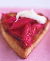 Heart shaped rhubarb cake and mascarpone