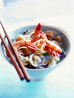Spicy noodle soup with seafood