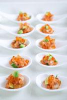 Salmon, avocado and caviar canap?s