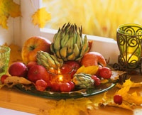 Autumn leaves, artichokes and apples