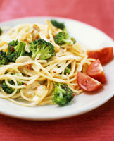 Spaghetti with broccoli cooked in wok