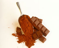 Cocoa powder and pieces of chocolate