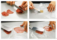 Cutting beef fillet