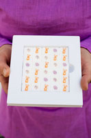 Hands holding sugar cubes decorated